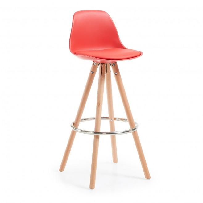 Taburete alto pie madera. Modelo STAG rojo