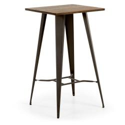 Mesa metal y madera 60x60. Modelo MALIBU grafito