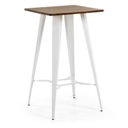 Mesa metal y madera 60x60. Modelo MALIBU blanco