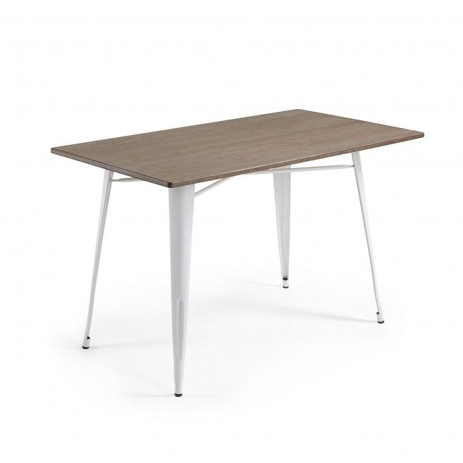 Mesa metal y madera 150x80. Modelo MALIBU blanco