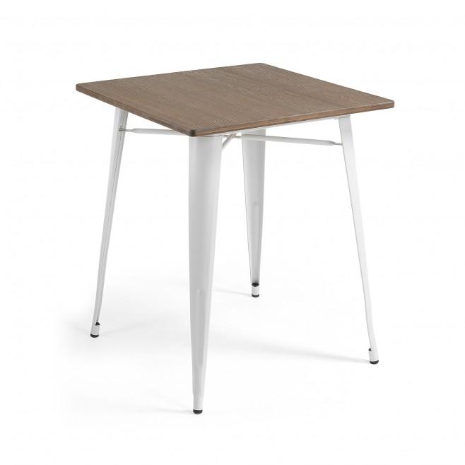 Mesa metal y madera 80x80. Modelo MALIBU blanco