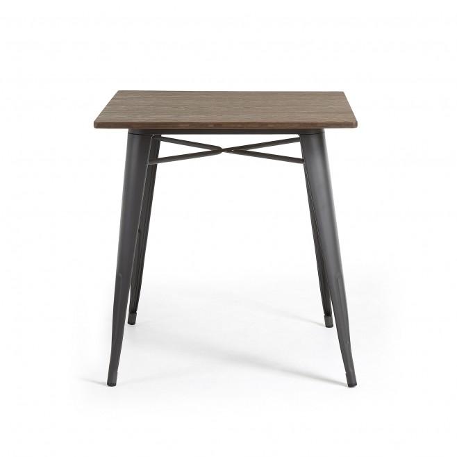 Mesa metal y madera 80x80. Modelo MALIBU grafito