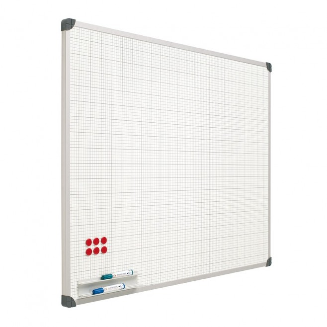 Pizarra blanca Acero vitrificado cuadriculada 120 x 180 cm + soporte T.