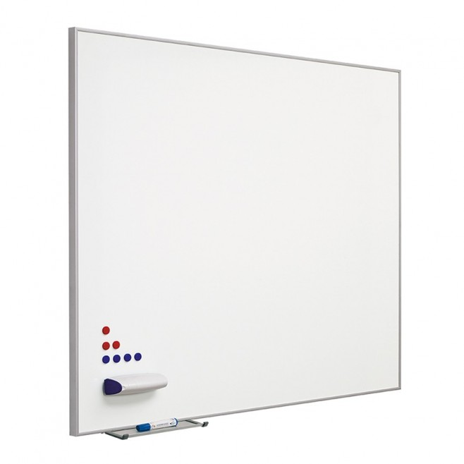 "Pizarra lacada blanca marco aluminio ""mini"" 90 x 120 cm."