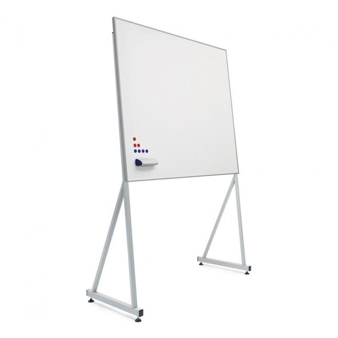 Pizarra blanca A. Vitrificado marco mini 100 x 120 cm. + soporte Delta.