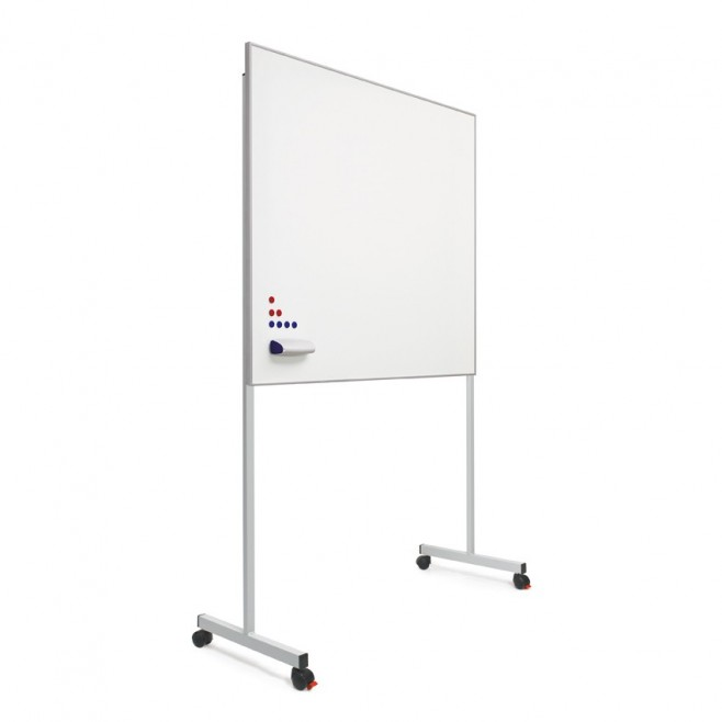 "Pizarra blanca A. Vitrificado marco mini 120 x 200 cm. + soporte ""T""."