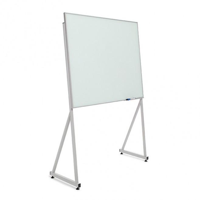 Pizarra cristal marco mini con soporte delta de 100 x 80 cm.