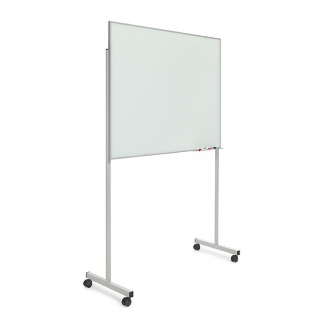 Pizarra cristal marco mini con soporte T de 100 x 80 cm.
