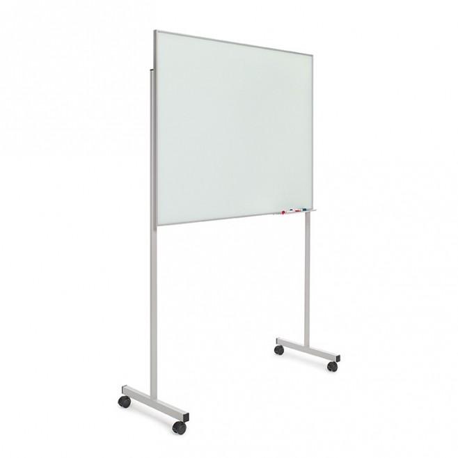 Pizarra cristal marco mini con soporte T de 100 x 120 cm.