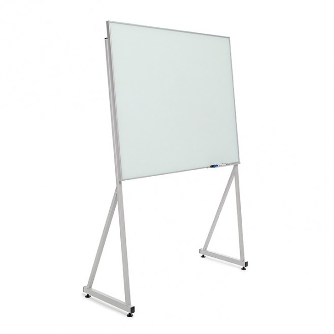 Pizarra cristal marco mini con soporte delta de 100 x 150 cm.