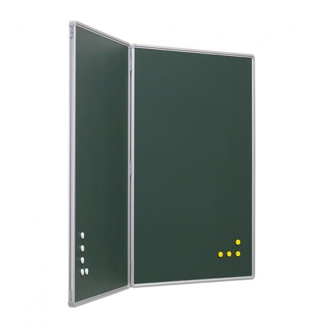 Pizarra Díptica Verde Acero Vitrificado 90 x 120 cm.