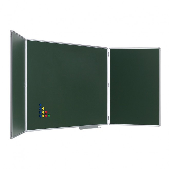 Pizarra Tríptica Verde Acero Vitrificado 90 x 240 cm.