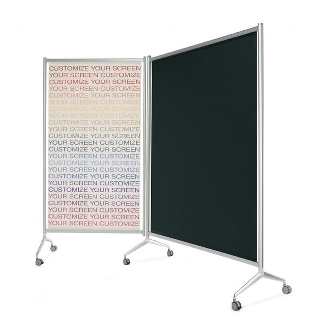 Mampara Screen de aluminio / tela gris de 150 x 190 cm.