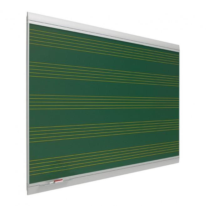 Pizarra verde pentagrama Zénit Acero Vitrificado Mural 120 x 300 cm.