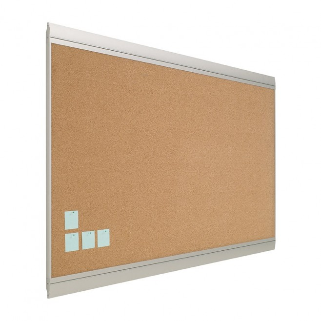 Tablero de anuncios Zénit corcho natural marco aluminio 100 x 250 cm