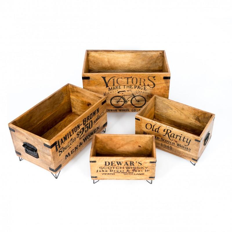 Set de 4 cajas de madera vintage castilla instalacion for Cajas de madera aki