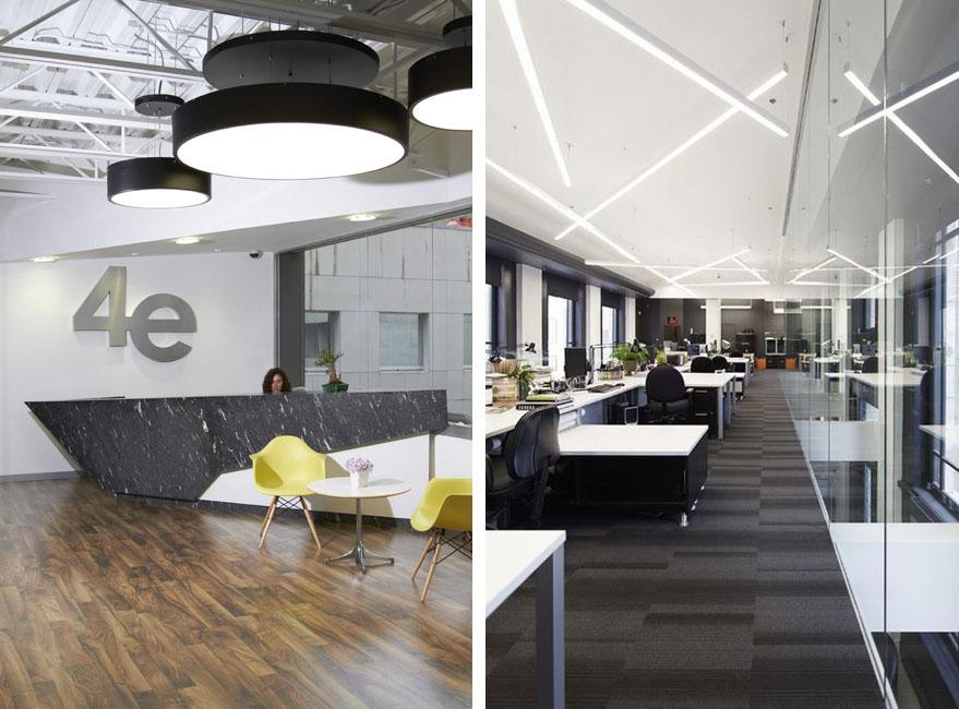 iluminación en una oficina