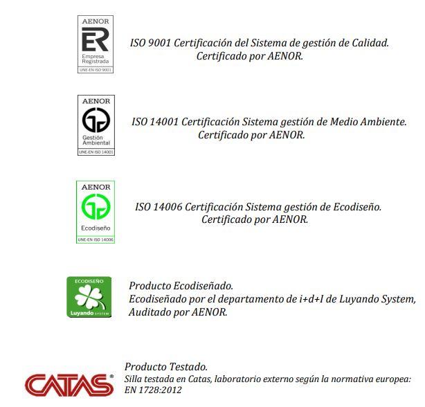 certificados silla Q5 Luyando