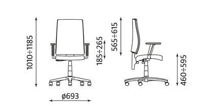 medidas silla de oficina I-Line